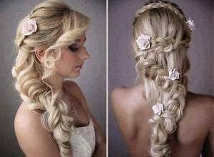 прическа на свадьбу - французская коса