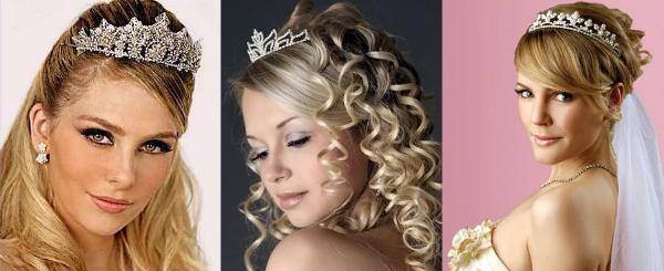 прическа невесты с использованием диадемы