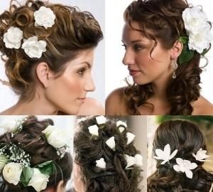 использование цветов в прическе темноволосыми невестами