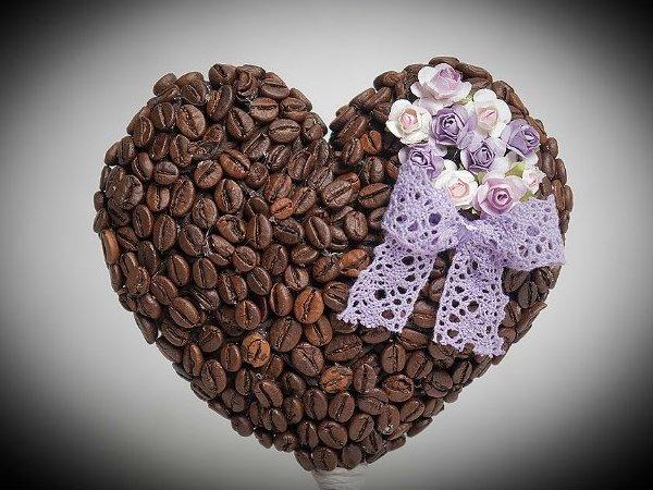 валентинка подруге Кофейное сердце