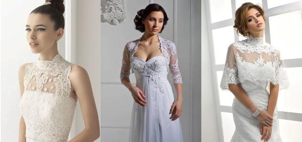 платье на свадьбу с кружевным болеро
