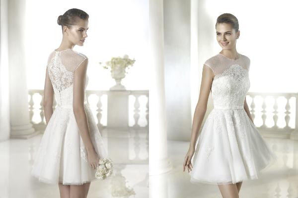 короткое кружевное свадебное платье фото