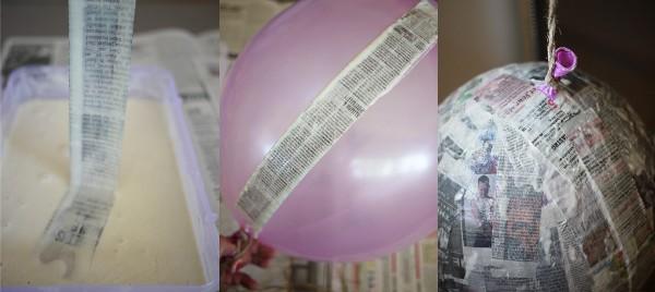 наклеивание кусочков газеты на поверхность надувного шара