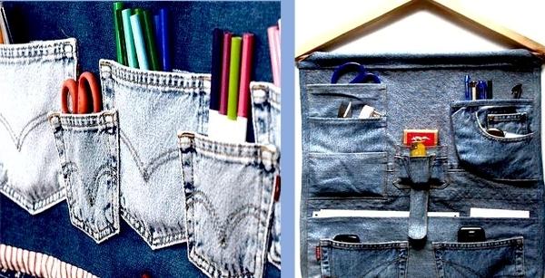 органайзер на дверь из старых джинс