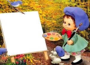 портрет рисуют все по очереди
