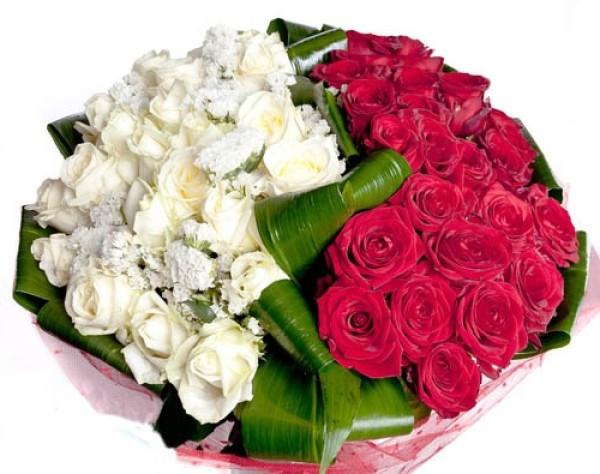 красные и белые розы в букете