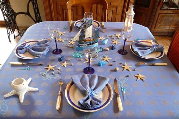 морской стиль для оформления праздничного стола