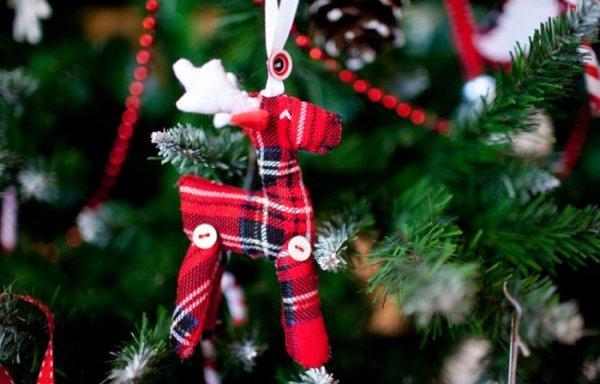 Текстильные украшения новогодних елок