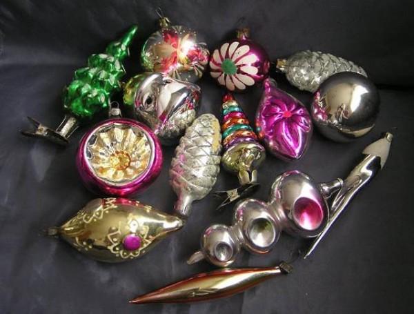 украшаем елку на новый год советскими стеклянными игрушками
