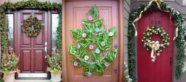 новогодний декор входных дверей
