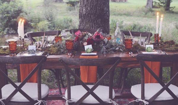 стол молодоженов в богемном стиле