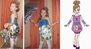 девочка в костюме флешки и Компьютерной мышки