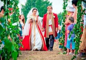 красивая свадьба в русском народном стиле