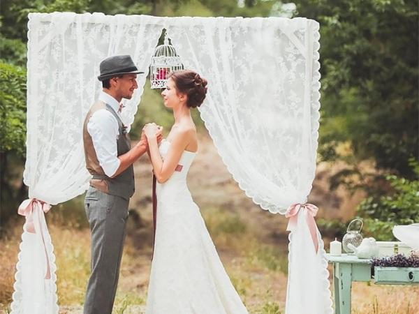 сама церемония на свадьбе рустик
