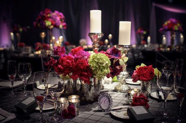 оформление стола на свадьбу в стиле чикаго
