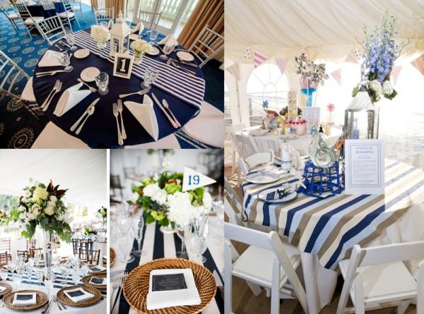 стол для гостей на свадьбу в морском стиле