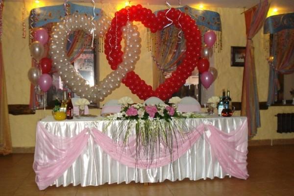 как оформить стол жениха и невесты воздушными шарами