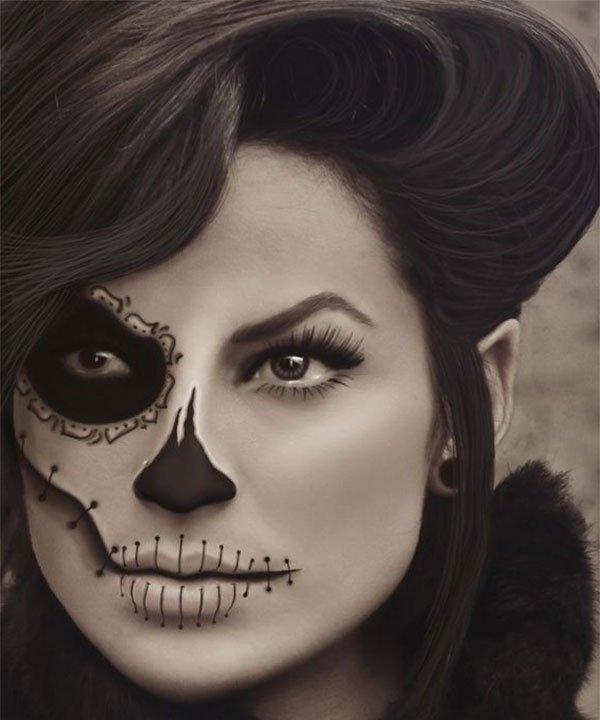мейкап скелета на хэллоуин