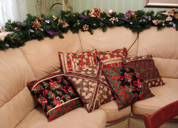 украшаем комнату текстилем на новый год